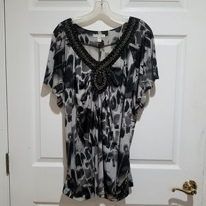 Black and White Tunic with Beaded Neckline